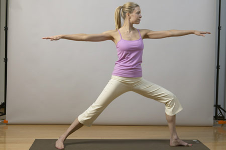 yoga for back pain relief - warrior two pose